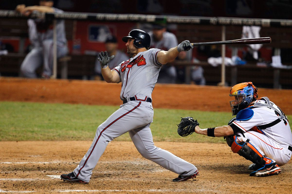 MIAMI, FL - JUNE 05:  Dan Uggla #26 of the Atlanta Braves hits a home run during a game against the Miami Marlins at Marlins Park on June 5, 2012 in Miami, Florida.  (Photo by Sarah Glenn/Getty Images)
