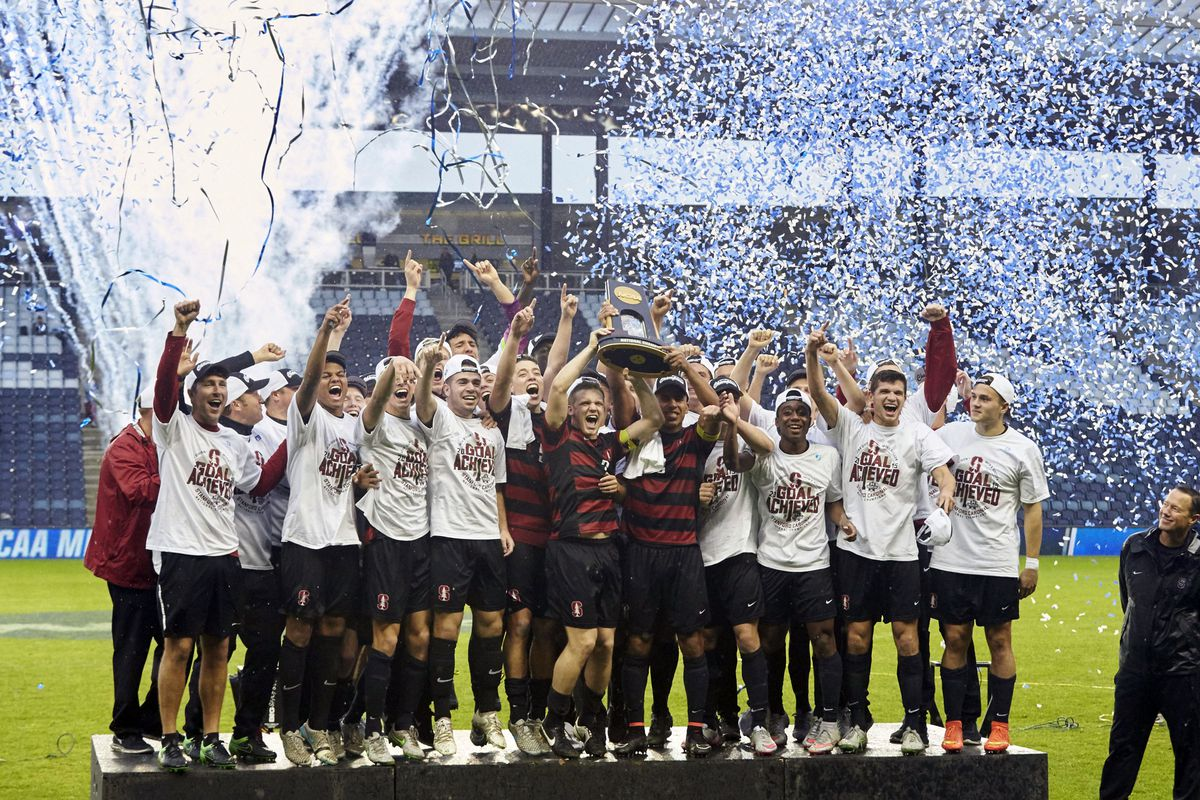 Stanford celebrating their national championship at Sporting Park.