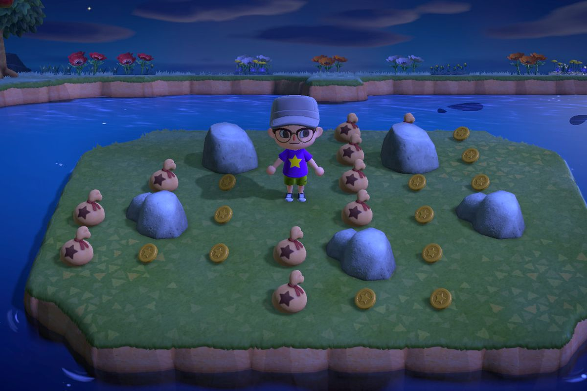Standing around a pill of Bells in Animal Crossing New Horizons