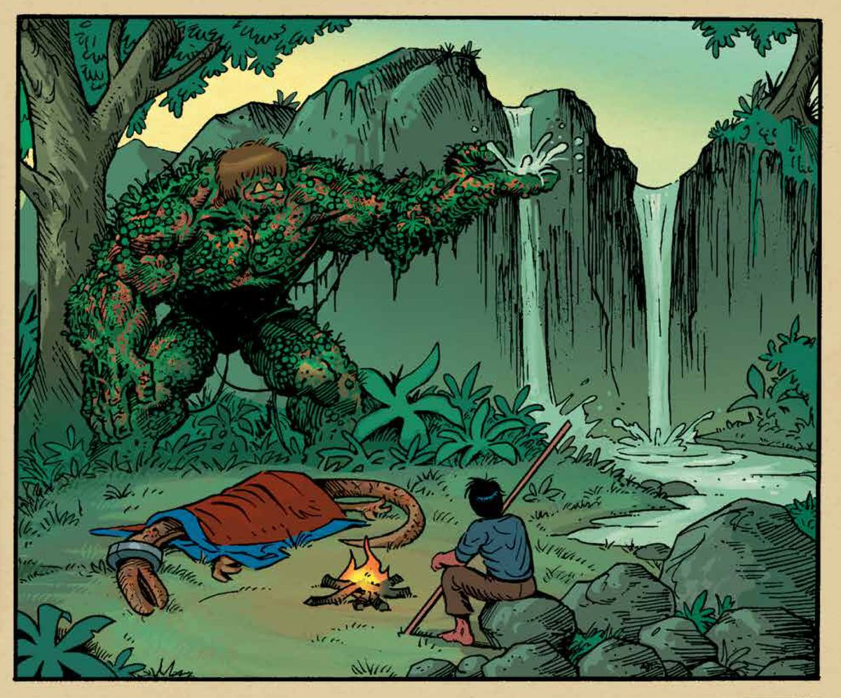 Gogor, a Hulk-like plant being, gathers water from a small waterfall in his palm to tend to an abused pack animal, as his companion, the young boy Armano sits by a campfire, in Gogor #5, Image Comics (2019).