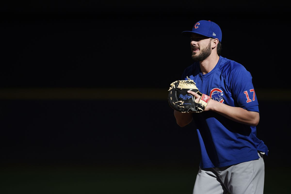 Third baseman Kris Bryant was out of the Cubs' lineup against the Brewers on Tuesday with soreness in his right side.