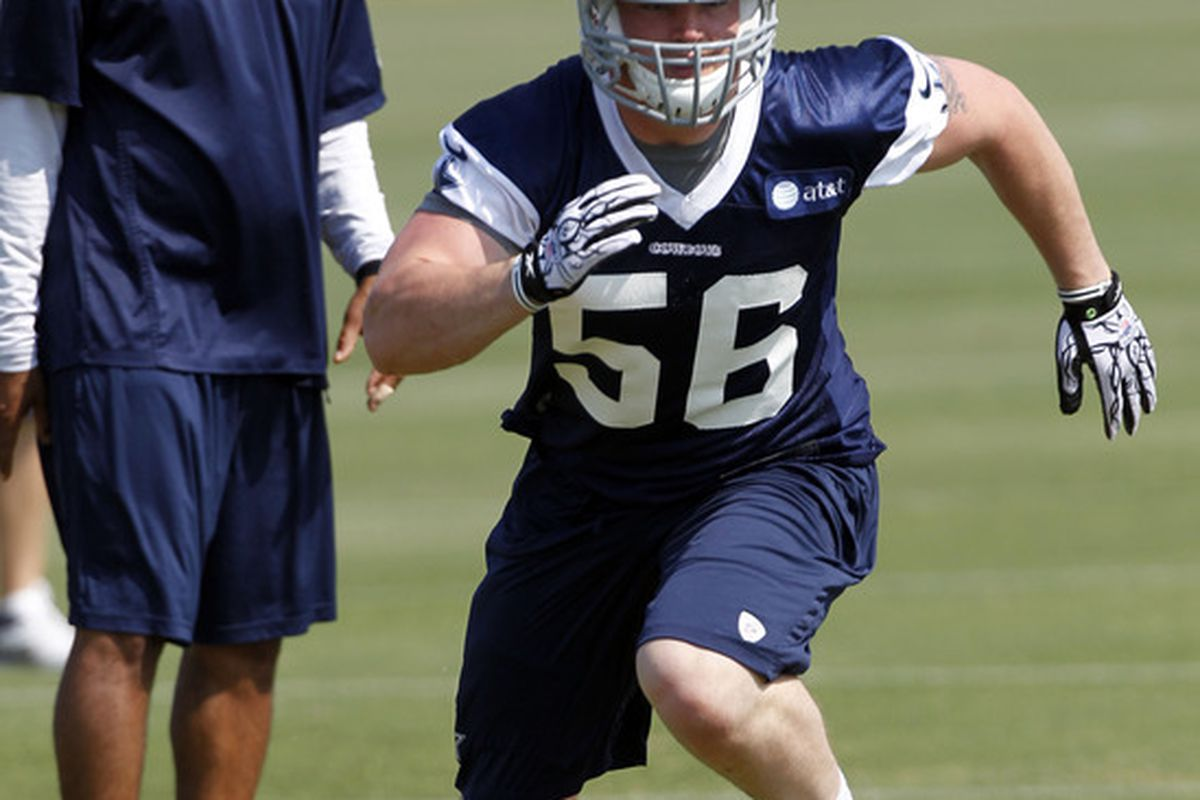 IRVING, TX - MAY 5:  Caleb McSurdy #56 of the Dallas Cowboys works out during rookie mini camp on May 5, 2012 at the Valley Ranch Complex in Irving, Texas. (Photo by Layne Murdoch/Getty Images)