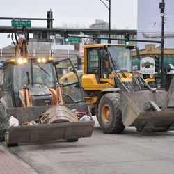 Traffic on Addison outside the ballpark