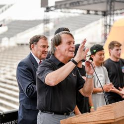 Utah Sports Commission president Jeff Robbins speaks at a press conference for Nitro World Games in Salt Lake City on June 21, 2017.
