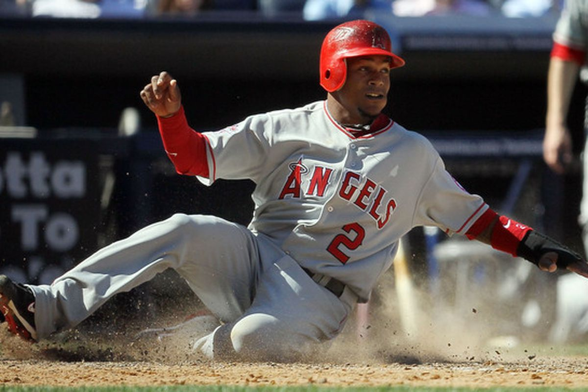 NEW YORK - APRIL 14:  Erick Aybar #2 of the Los Angeles Angels of Anaheim scores a seventh inning run against the New York Yankees  on April 14, 2010 at Yankee Stadium in the Bronx borough of New York City.  (Photo by Jim McIsaac/Getty Images)