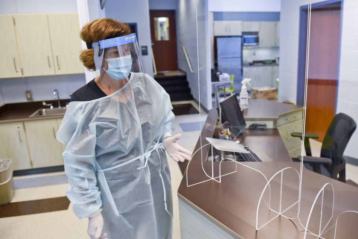 School Nurse At Pennsylvania Elementary School Prepares For School Year During Coronavirus COVID-19 Pandemic