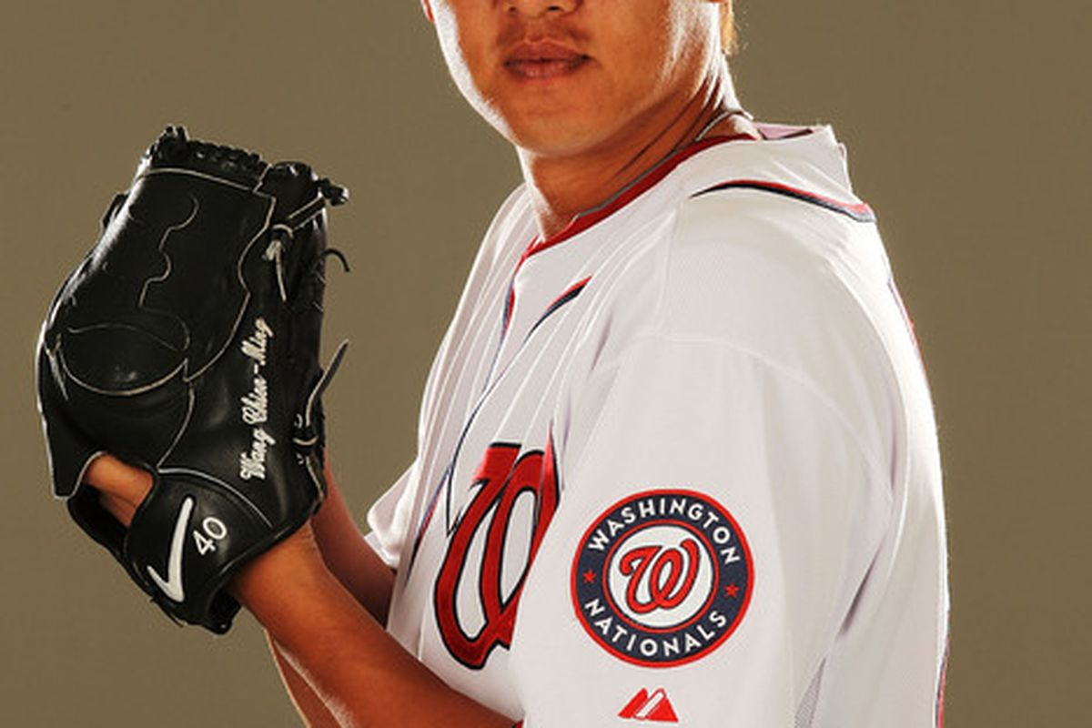 VIERA FL - FEBRUARY 25:  Chien-Ming Wang #40 of the Washington Nationals poses for a portrait during Spring Training Photo Day at Space Coast Stadium on February 25 2011 in Viera Florida.  (Photo by Al Bello/Getty Images)