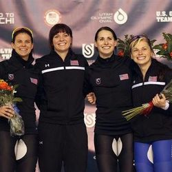 From left to right, second-place finisher Brittany Bowe, first-place finisher Heather Richardson, third-place finisher Lauren Cholewinski and fourth-place finisher Sugar Todd, all for the United States, celebrate on the podium after the women's 500-meter race during the U.S. Olympic speedskating trials Saturday, Dec. 28, 2013, in Kearns, Utah.  (AP Photo/Rick Bowmer)