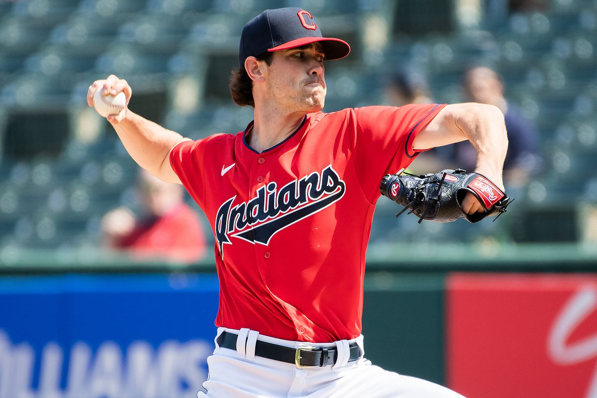 Cleveland Indians starting pitcher Shane Bieber throws a pitch during the first inning against the Kansas City Royals at Progressive Field.