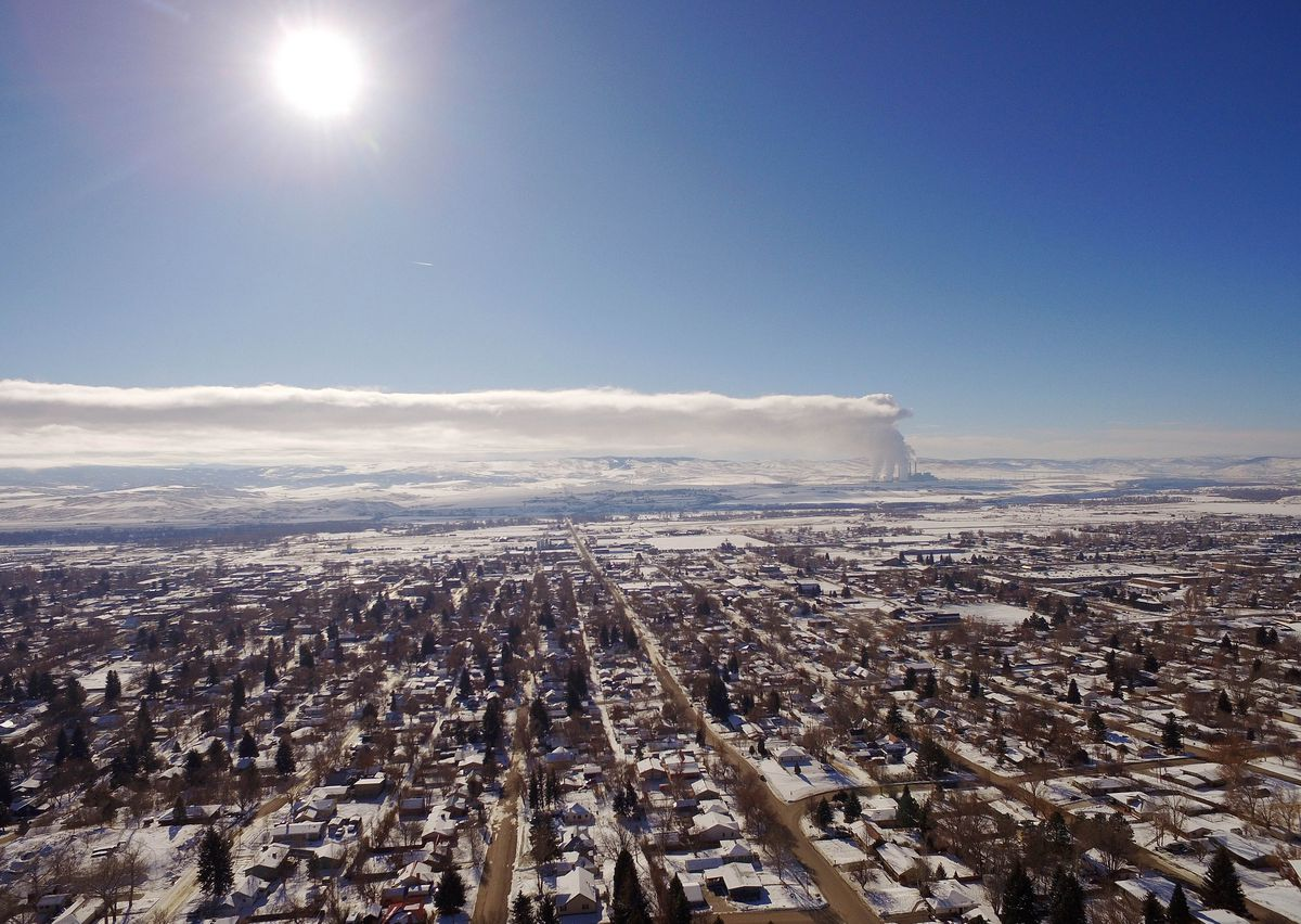 Overhead view of Moffat County. Emissions drift to the east from the Craig Station coal-burning power plant.