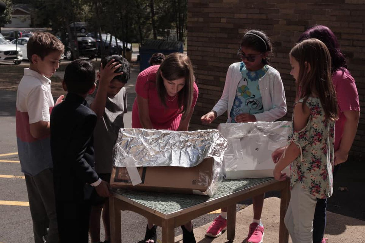Tammy Murphy, New Jersey's first lady, visits a school to learn how students are currently being taught about climate change.