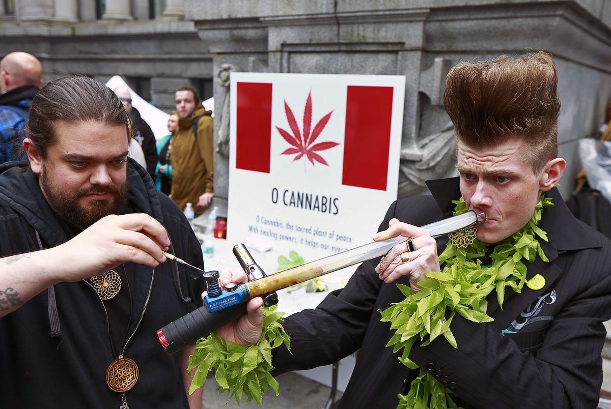 Canadians using marijuana.