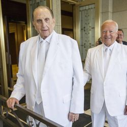 President Thomas S. Monson and Elder Kent F. Richards, of the Seventy and director of the church's temple department pause for a moment prior to entering the temple as they rededicate the Ogden temple Sunday.