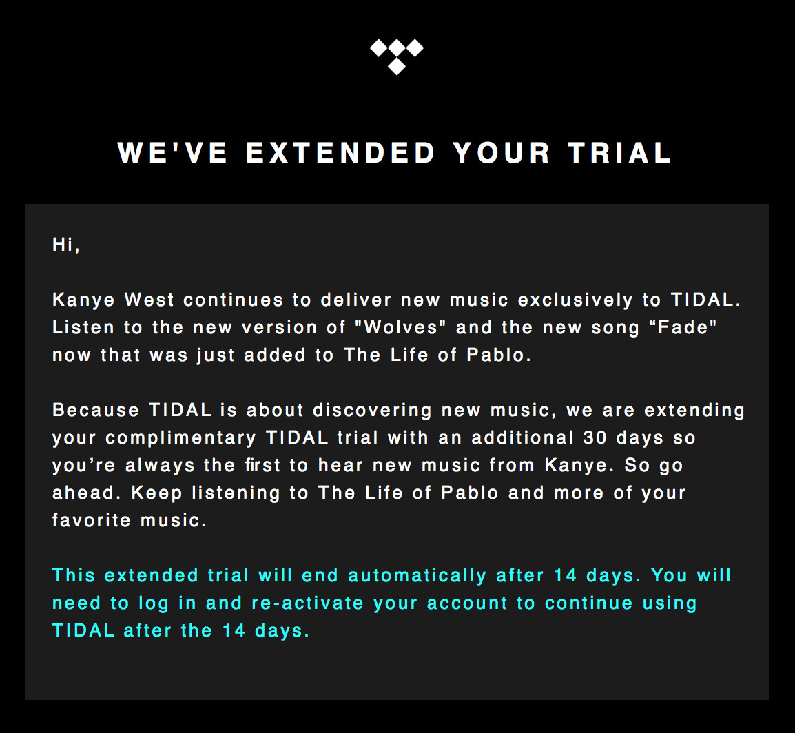 Tidal is extending free trials by a month to let users hear