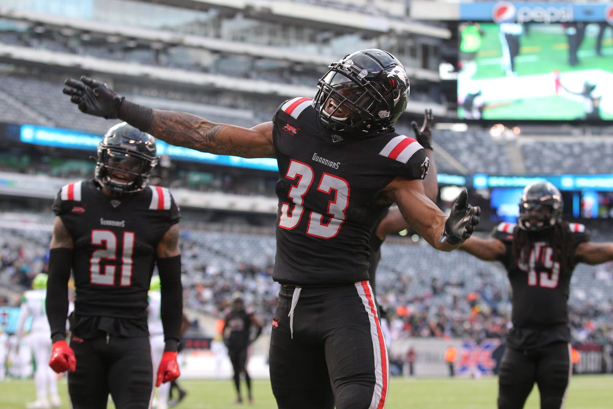 New York Guardians safety A.J. Hendy reacts during the third quarter of an XFL football game against the Tampa Bay Vipers at MetLife Stadium.
