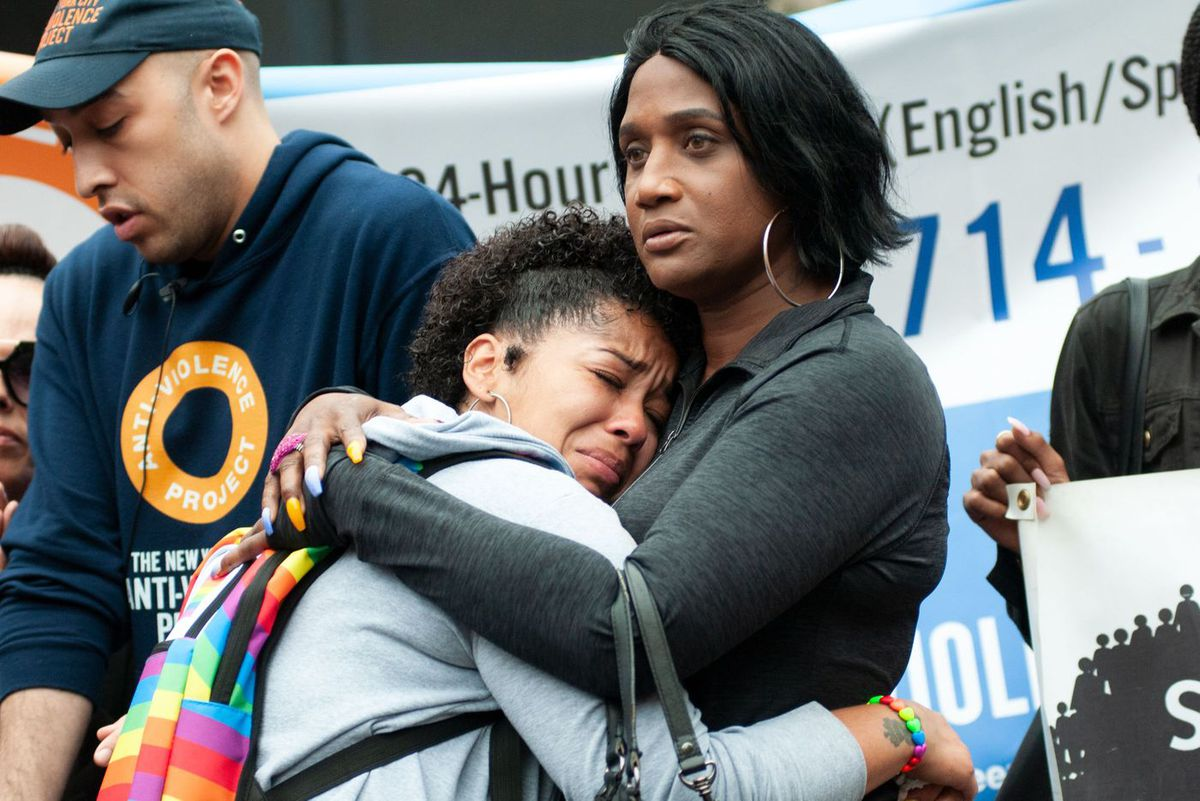 Layleen Polanco's sister Melania Brown, left, hugs Tabytha Gonzalez at a rally in Foley Square on Monday, June 10.