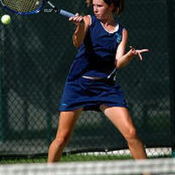 Juan Diego's Romina Nedakovic, 15, returns a serve. She won the 1A/2A No. 1 singles title and looks like the favorite for the 3A title.