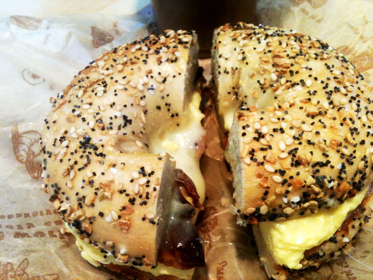 [Bacon, egg and cheese on an everything bagel from The Works Bakery Cafe.