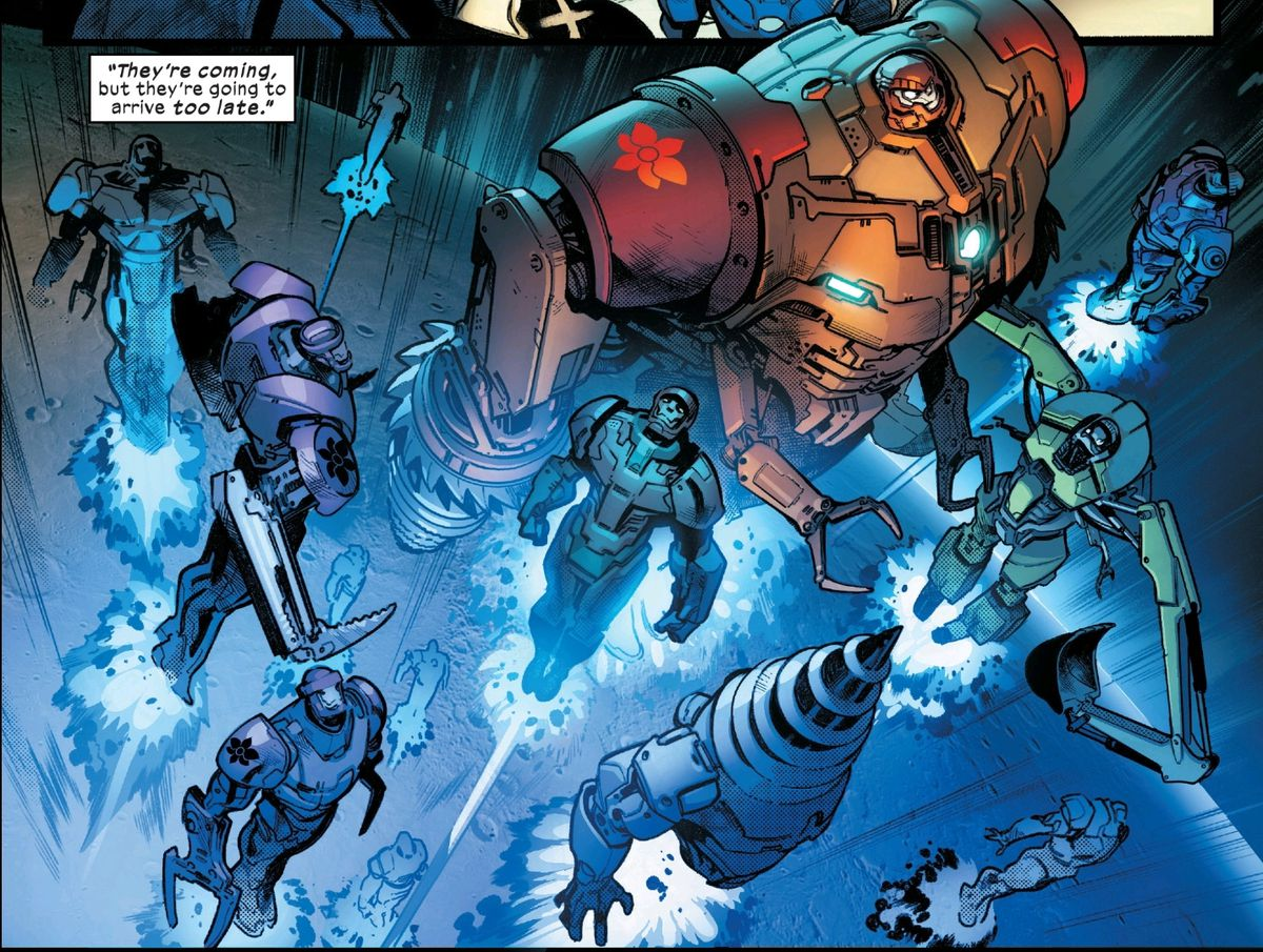 A platoon of wildly divergent construction Sentinels in flight, in House of X #3, Marvel Comics (2019).