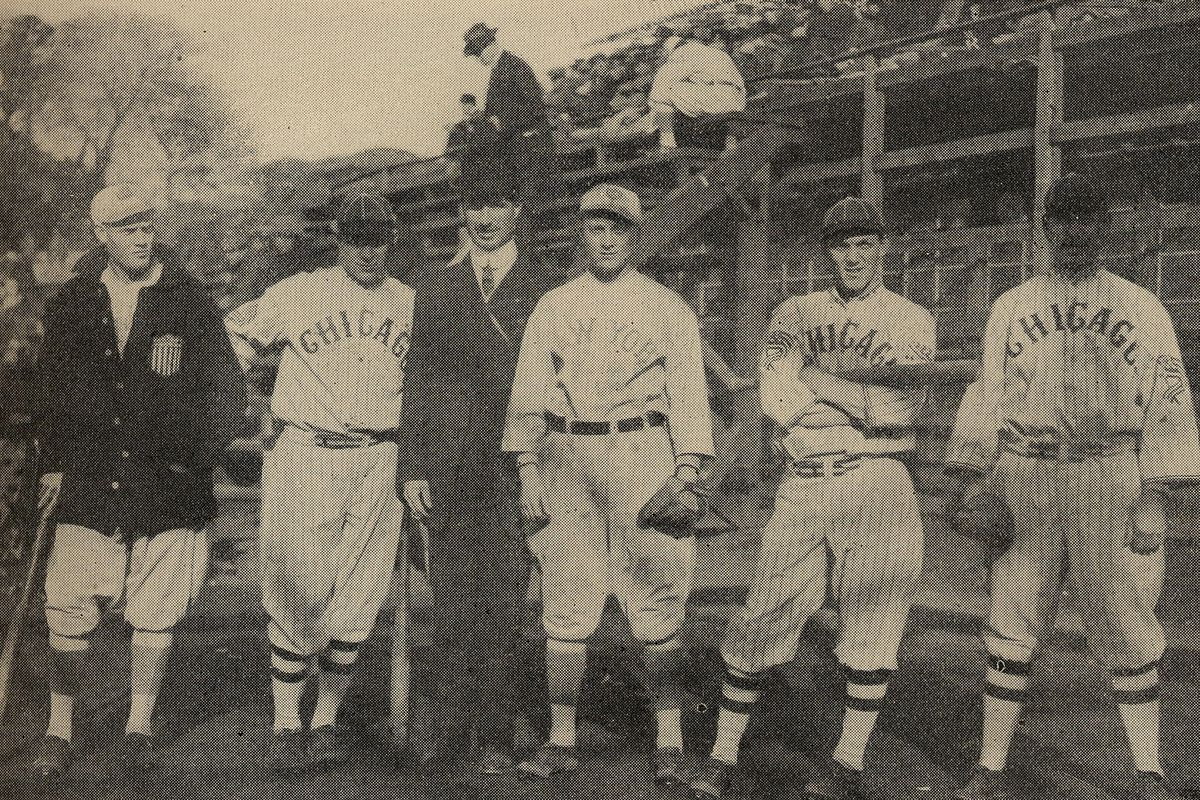 """""""Wingo, Leverenz, Scott, Magee, Weaver and Evans,"""" Keio University ground, Toyko, Japan, before the game."""