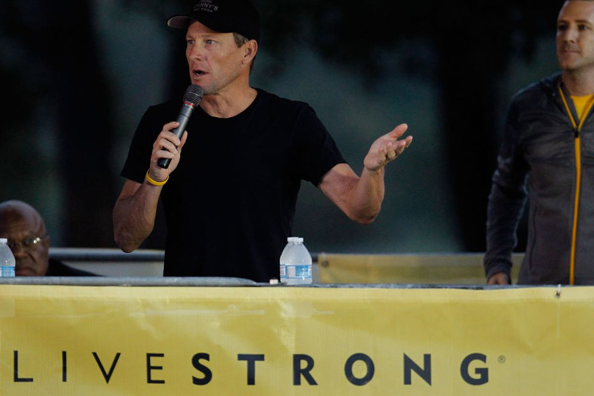 Lance Armstrong speaks at the Livestrong Challenge ride in October 2012, via Getty