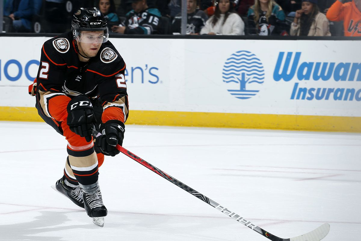 Brendan Guhle #2 of the Anaheim Ducks reaches for the puck during the game against the New York Islanders at Honda Center on November 25, 2019 in Anaheim, California.