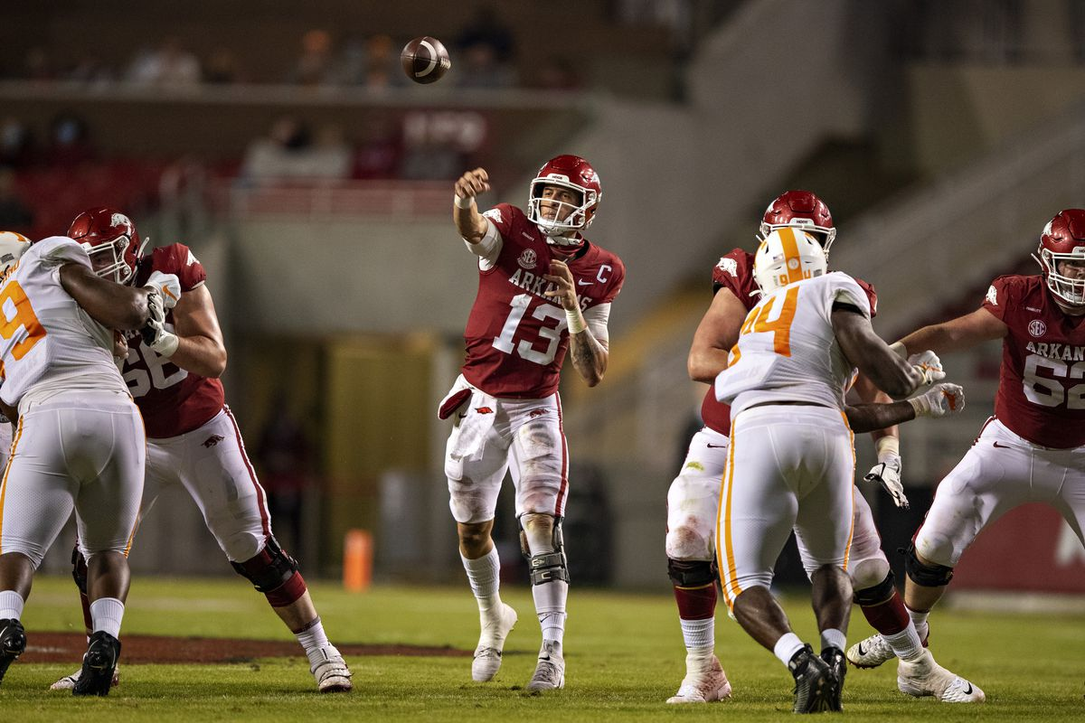 Feleipe Franks of the Arkansas Razorbacks throws a pass in the second half of a game against the Tennessee Volunteers at Razorback Stadium on November 7, 2020 in Fayetteville, Arkansas. The Razorbacks defeated the Volunteers 24-13.
