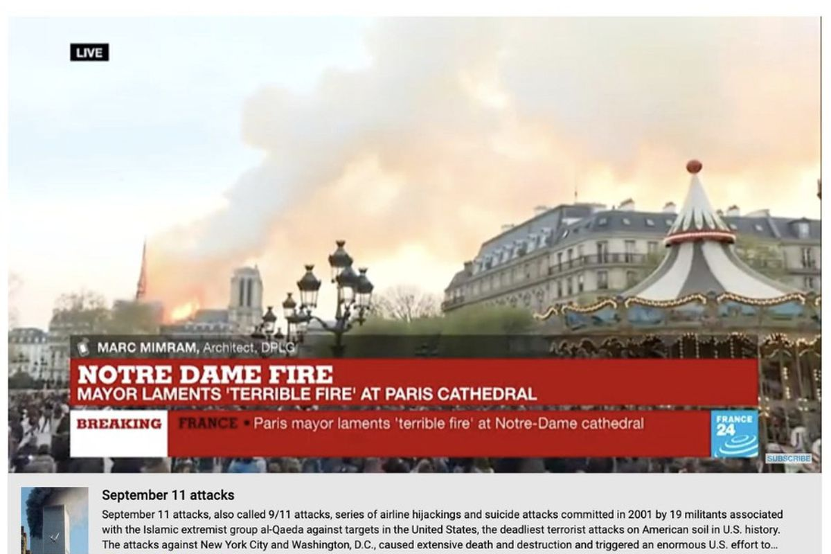 YouTube flagged livestreams of the Notre Dame Cathedral fire as misinformation on Monday afternoon.