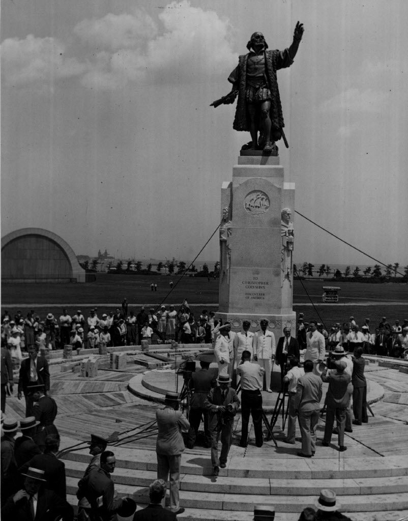 Italo Balbo, II Duce's governor of Libya, stands at the right of the uniformed group in front of the Grant Park statue, photographed in 1933.SUN-TIMES PRINT COLLECTION