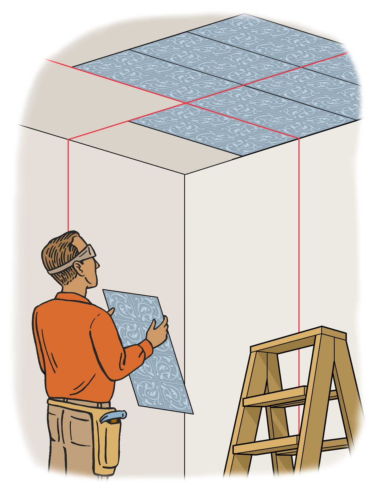 Person projecting a laser level onto the ceiling to help align a section of ceiling tile.