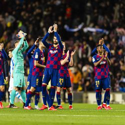 Barcelona celebrate at the end of their last match - a 1-0 win over Sociedad