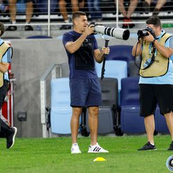 August 14, 2019 - Saint Paul, Minnesota, United States - Minnesota United goalkeeper Vito Mannone (1) has a go at sports photography during the Minnesota United Unified Team vs Colorado Rapids Unified Team match at Allianz Field.
