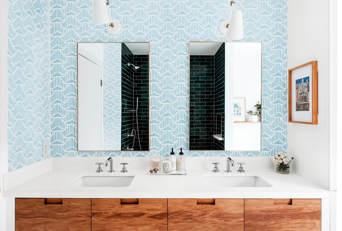 Spring 2021, Before & After Bath: Same Space, Fresh Look, front view of vanity/mirrors