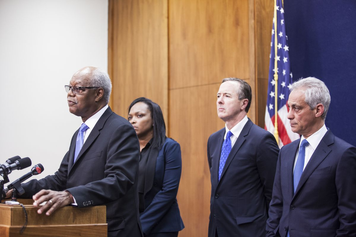 Chicago Board of Education President Frank M. Clark (from left) joined CPS chief education officer Janice Jackson, Schools CEO Forrest Claypool and Mayor Rahm Emanuel at a press conference Friday afternoon. | Maria Cardona/Sun-Times