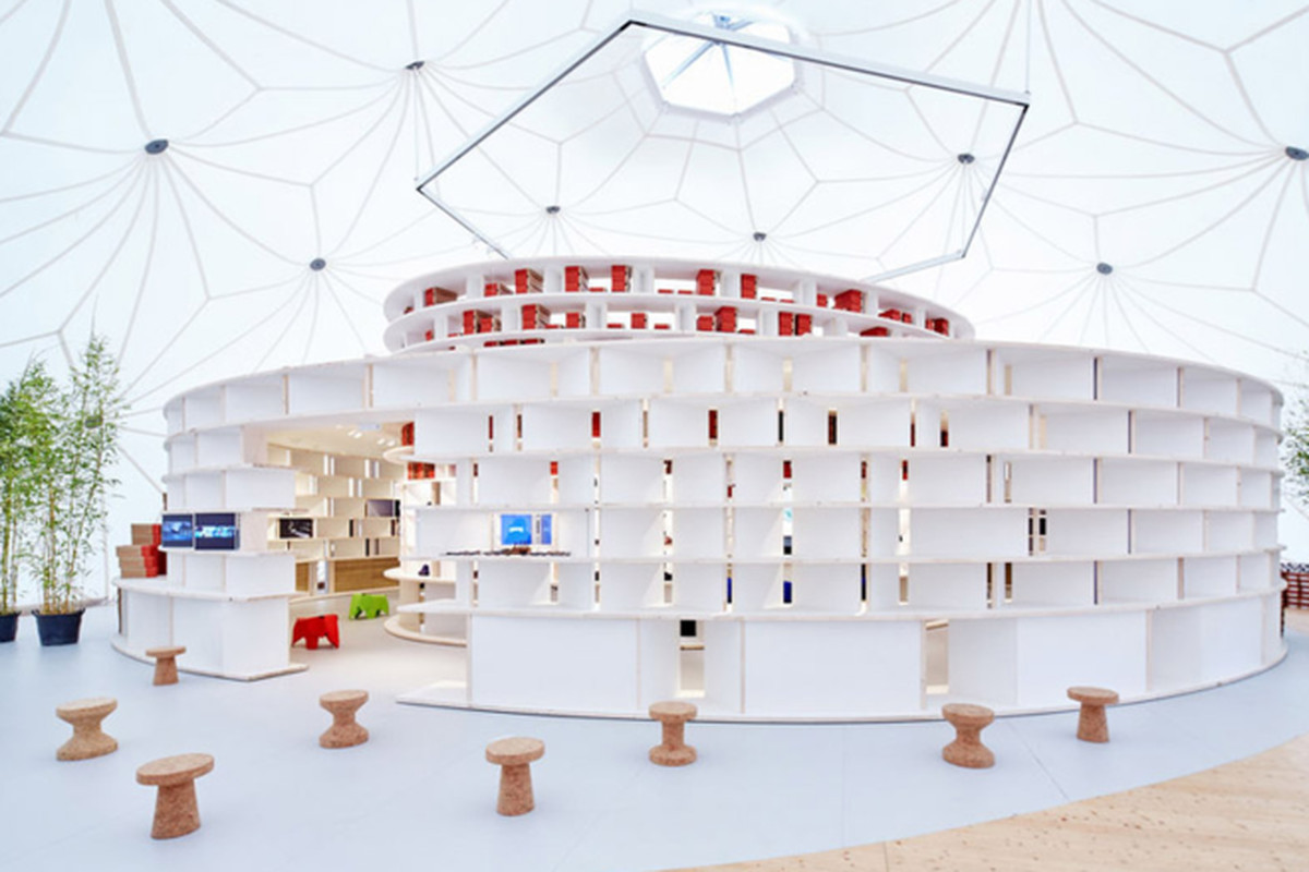 1323d19fd10c A Buckminster Fuller Dome on the Vitra Campus is Now a Pop-Up Shoe Store