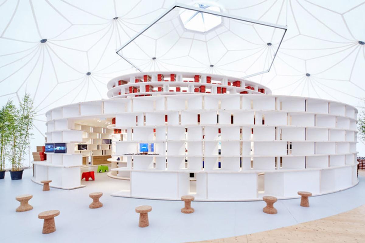 """All photos via <a href=""""http://www.dezeen.com/2015/06/18/diebedo-francis-kere-camper-pop-up-store-opens-vitra-campus-buckminster-fuller-dome/"""">Dezeen</a>"""