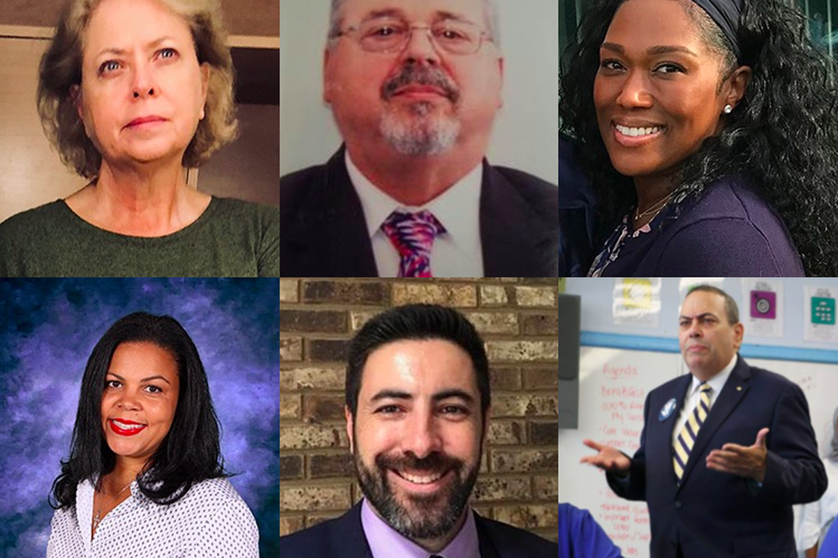 Newark Superintendent Roger León has added several district veterans to his leadership team. Clockwise from top left: Mary Ann Reilly, Steve Morlino, Nicole T. Johnson, León, David Scutari, and Maria Ortiz.