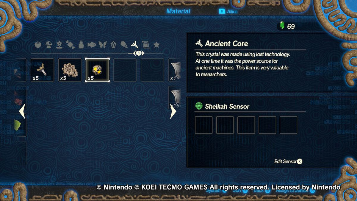 Hyrule Warriors: Age of Calamity Material Menu
