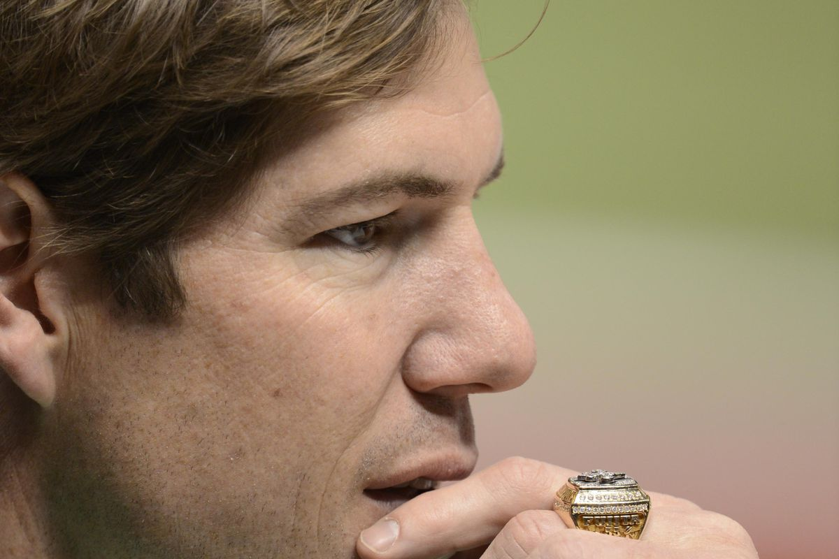 Feb 3, 2013; New Orleans, LA, USA; Scott Fujita on the sidelines before Super Bowl XLVII at the Mercedes-Benz Superdome.