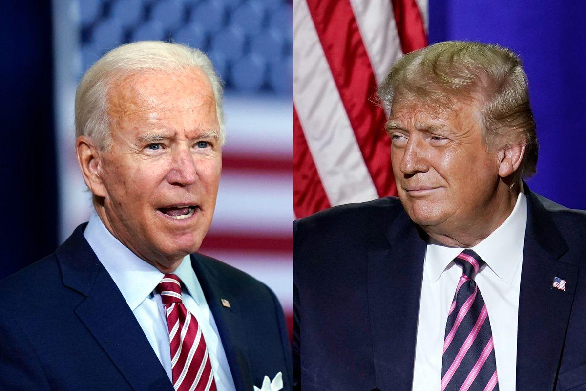 President Joe Biden, left, bested President Donald Trump in November 2020.