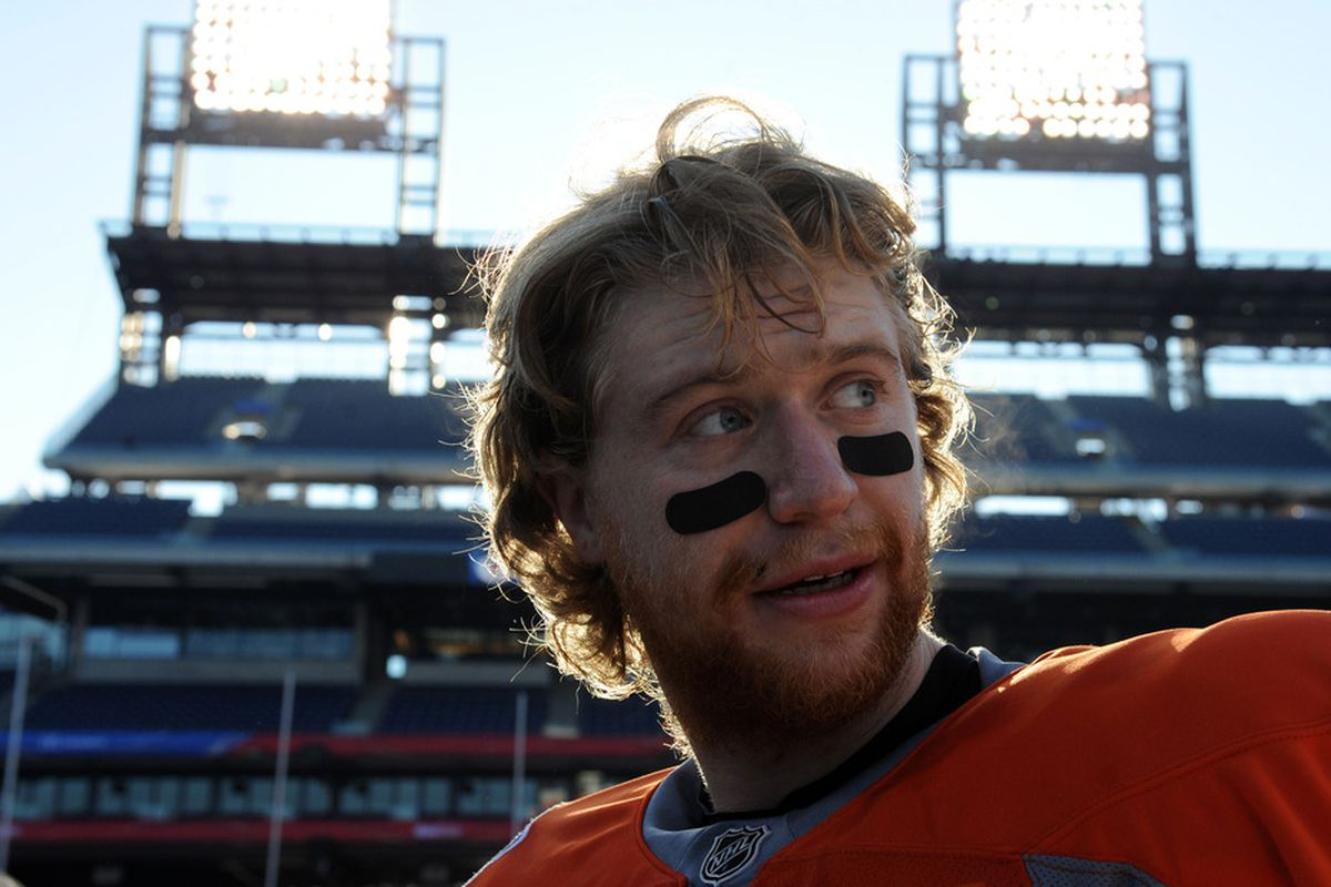 Jakub Voracek, pictured during practice for this year's Winter Classic, could be a target for Jim Rutherford if the Flyers inquire about the availability of Tim Gleason. (Photo by Christopher Pasatieri/Getty Images)