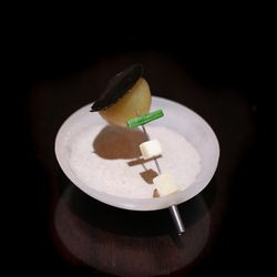 """One of Alinea's most well-known dishes made an appearance in Miami. Called """"Hot Potato, Cold Potato"""" it's made with a hot Yukon gold potato, a slice of black truffle that drops into a chilled truffled potato soup."""