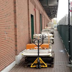 Construction material lined up on Waveland