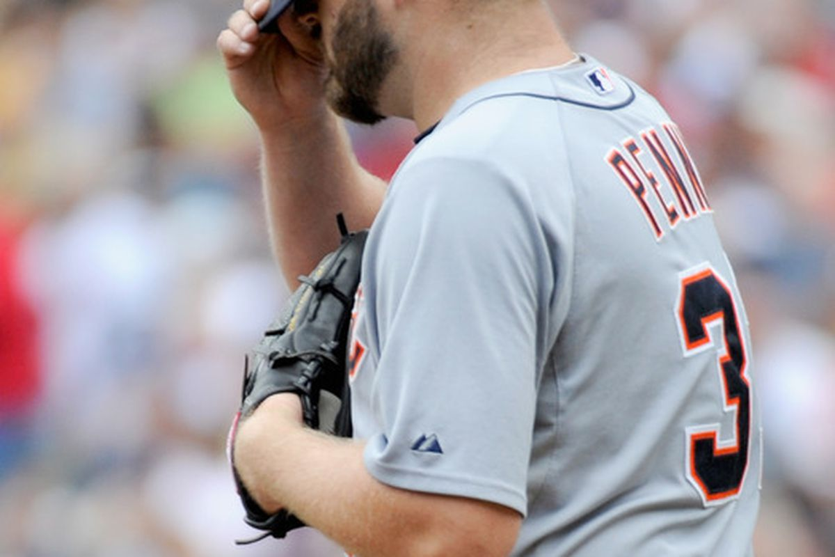 MINNEAPOLIS, MN - AUGUST 28: Brad Penny #31 of the Detroit Tigers reacts in the first inning of the game against the Minnesota Twins on August 28, 2011 at Target Field in Minneapolis, Minnesota. (Photo by Hannah Foslien/Getty Images)