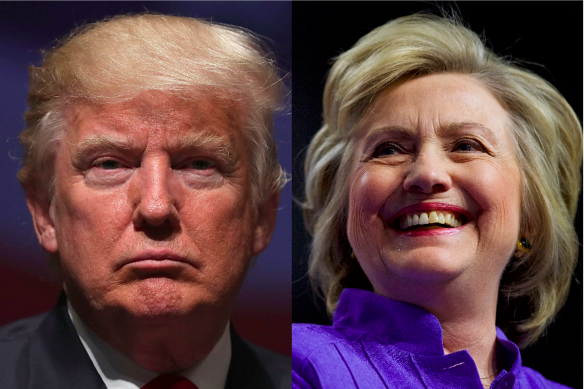 Photo, left, of Donald Trump not smiling; photo, right, of Hillary Clinton smiling.
