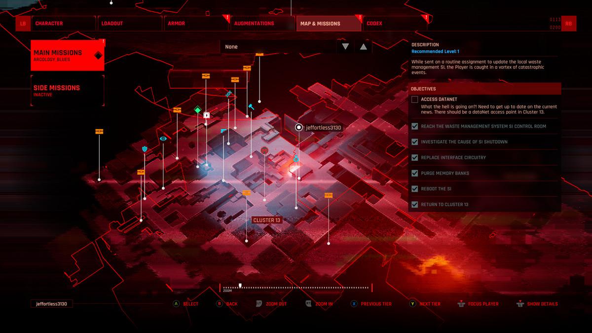 Uma tela de mapa vermelha em The Ascent
