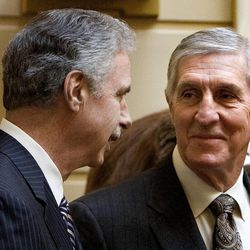 Recently retired Utah Jazz coaches Phil Johnson and Jerry Sloan are honored in the Senate at the Utah State Capitol on March 7, 2011.