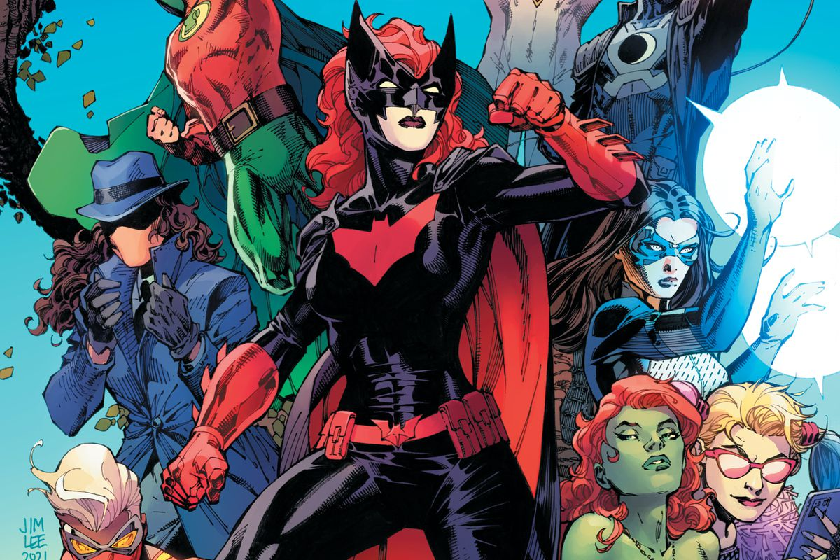 Batwoman stands, flanked by Renee Montoya/The Question, Green Lantern/Alan Scott, Dreamer, and Harley Quinn and Poison Ivy on the cover of DC Pride (2021).