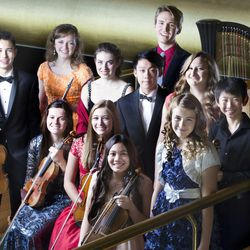These musicians, pictured July 30 at Abravanel Hall, have been selected to perform in this year's Salute to Youth concert. Standing, left to right: Jeremy David Lewis, Ashley Fleming, Sally Drutman, Alexander Cheng, William Yavornitzky, Mischael Ann Staples, Soonyoung Kwon and Hannah Jean Baker. Seated, left to right: Erika Hubbard, McCall Andersen and Rachel Aina Call.