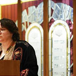 Rabbi Tracee Rosen greets the congregation during an Interfaith Community Thanksgiving Service at Congregation Kol Ami Sunday.